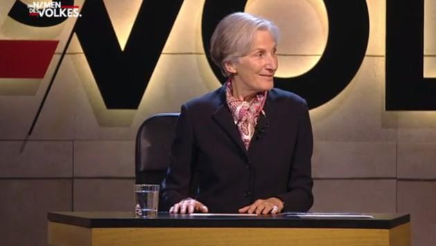 Irmgard Griss schien die virtuelle Verhandlung Spaß zu machen, doch die Zuseherzahl blieb gering. (Bild: Puls4.com)