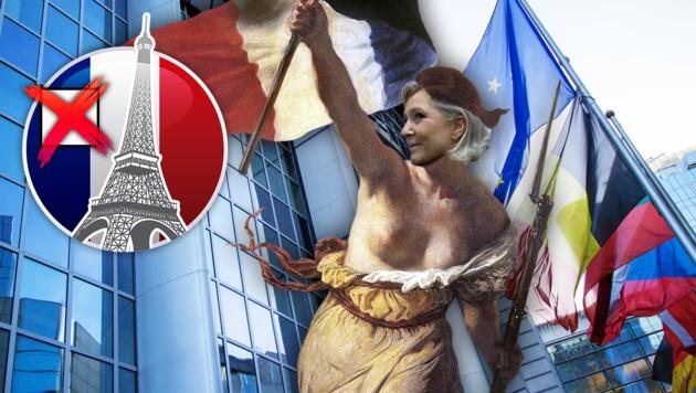 """Le Pens Kopf auf der zentralen Figur des Gemäldes """"Die Freiheit führt das Volk"""" der Julirevolution (Bild: thinkstockphotos.de, krone.at-grafik)"""