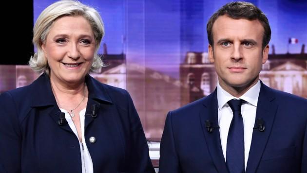 Marine Le Pen lieferte sich am Mittwochabend ein hartes TV-Duell mit ihrem Rivalen Emmanuel Macron. (Bild: AP)