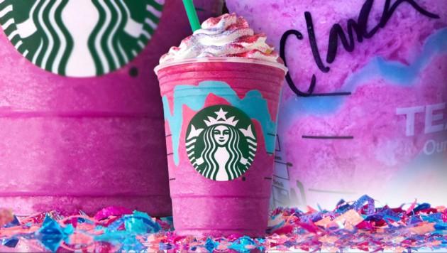 In vielen Starbucks-Filialen ist das Einhorn-Getränk schon ausverkauft! (Bild: Starbucks, Clara Milena Steiner)