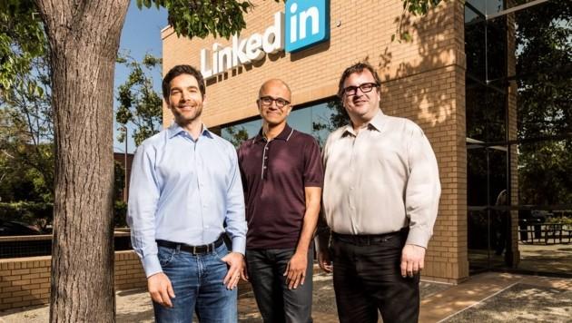 LinkedIn-Chef Jeff Weiner, Microsoft-Gründer Satya Nadella und LinkedIn-Gründer Reid Hoffmann (Bild: Linkedin)