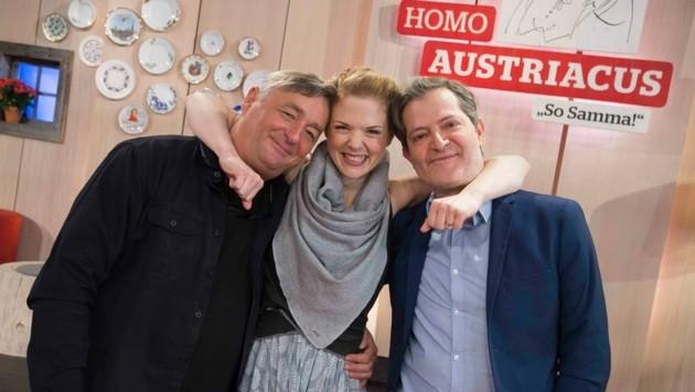 Raten im Team: Andreas Vitásek, Sigrid Spörk und Clemens Haipl. (Bild: ServusTV/Martin Hoermandinger)
