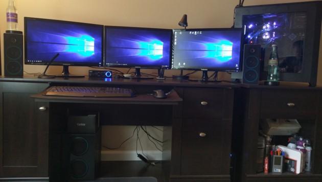 """Setups mit drei Bildschirmen sind bei einer """"Battle Station"""" nichts ungewöhnliches. (Bild: reddit.com/r/battlestations)"""