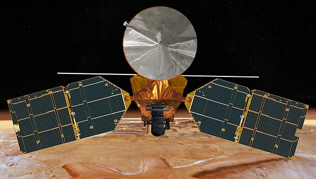 Künstlerische Illustration der Marsonde MRO (Bild: NASA/JPL-Caltech)