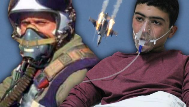 General Hasouri (links im Bild) soll den tödlichen Giftgasangriff in Syrien geflogen sein. (Bild: AP, AFP, twitter.com)