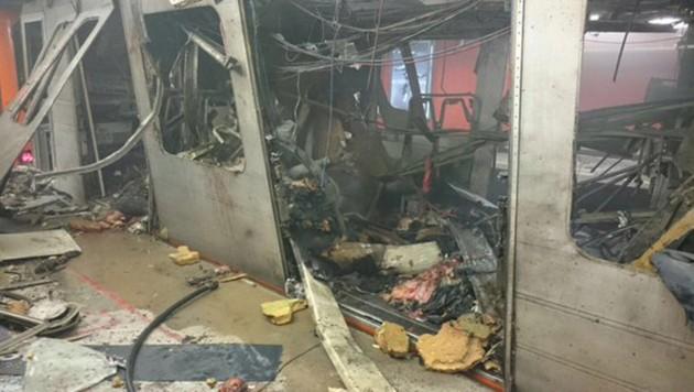 Die grauenvolle Szenerie nach dem Bombenanschlag in der Brüsseler U-Bahn (Bild: twitter.com)