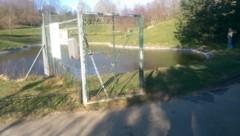 Aus diesem Teich hinter dem Kurzentrum Oberlaa wurden die Kinder gerettet. (Bild: Polizei Wien)
