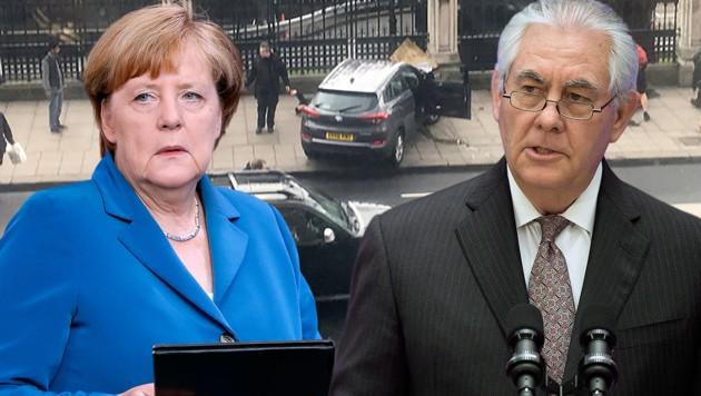 Merkel und US-Außenminister Rex Tillerson zeigten sich entsetzt über den Terroranschlag in London. (Bild: AFP/James West, AP)