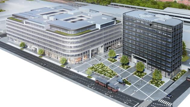 So wird der Gebäudekomplex bei Ost-Ausgang der U4-Station Heiligenstadt künftig aussehen. (Bild: Office Lenomade)