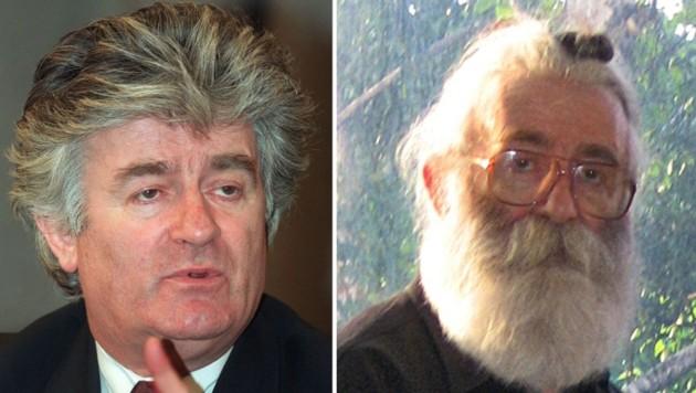 Karadzic im Jahr 1994 (links) und 2008 nach seiner Festnahme (Bild: APA/AFP)