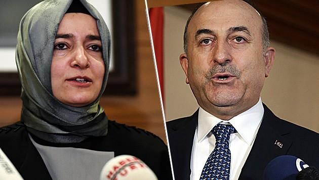 Durften nicht in Rotterdam auftreten: Fatma Betül Sayan Kaya (li.) und Mevlüt Cavusoglu (Bild: AP, AFP)