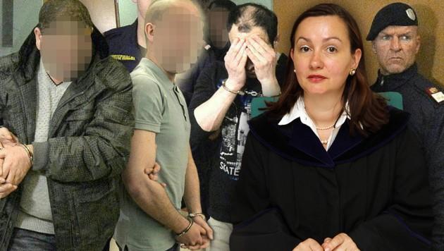 Richterin Petra Poschalko verurteilte acht Iraker, ein Angeklagter wurde freigesprochen. (Bild: APA/HERBERT PFARRHOFER, Peter Tomschi)