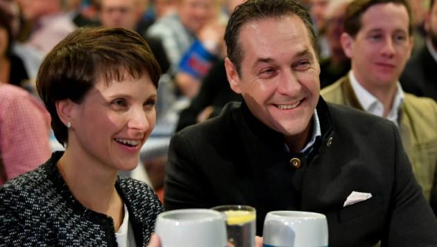 Strache und AfD-Bundesvorsitzende Frauke Petry (Bild: APA/BARBARA GINDL)