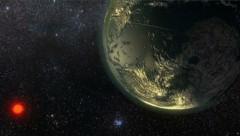 Künstlerische Illustration: Der Exoplanet GJ 411 (links unten sein Stern) (Bild: Ricardo Ramirez)