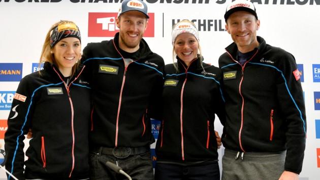 Fabienne Hartweger, Dominik Landertinger, Lisa Hauser und Simon Eder (Bild: APA/BARBARA GINDL)