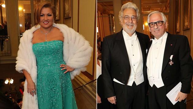 Anna Netrebko, Placido Domingo und Aki Nuredini beim Ball der Wiener Philharmoniker (Bild: Alexander Tuma)