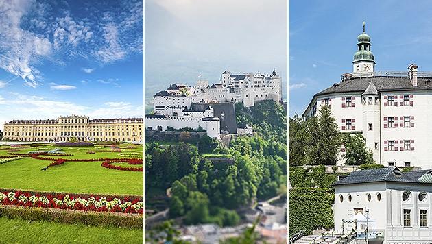 Schloss Schönbrunn, Festung Hohensalzburg, Schloss Ambras (v.l.) (Bild: thinkstockphotos.de)
