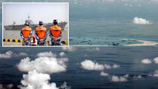 Von China aufgeschüttete Inseln im Südchinesischen Meer; chinesische Küstenwache (kl. Bild)