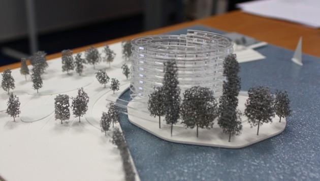 Ein Modell des umstrittenen Hotelprojekts in Gmunden.