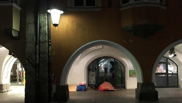 Unter den Lauben in der Innsbrucker Altstadt wird auch im Winter genächtigt.