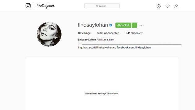 Lindsay Lohan hat alle ihre Instagram-Einträge gelöscht. (Bild: instagram.com/lindsaylohan)