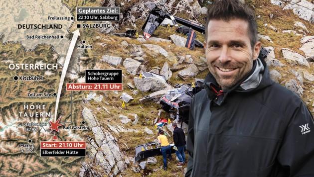 Nur wenige Augenblicke nach dem Start zerschellte der Hubschrauber mit Hannes Arch am Steuer. (Bild: Krone Grafik, APA/EXPA/JFK, APA: RED BULL AIR RACE/ANDREAS KOLAR)
