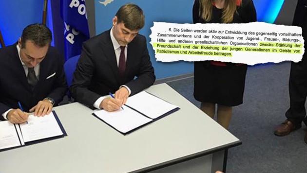 FPÖ-Chef Heinz-Christian Strache (links) unterzeichnete stolz den Pakt mit der Kreml-Partei. (Bild: Kronen Zeitung)