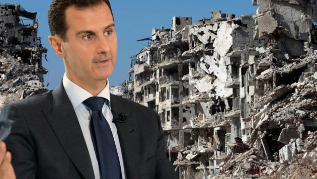 """Assad hat seinen """"Sieg gegen die Terroristen"""" in Syrien verkündet. (Bild: AP, AFP/SANA)"""
