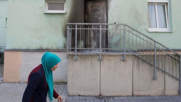 Die erste Explosion ereignete sich an der Eingangstür der Moschee im Dresdner Stadtteil Cotta.
