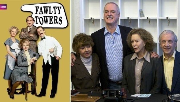 """Die """"Fawlty Towers""""-Stars Prunella Scales, John Cleese, Connie Booth und Andrew Sachs (Bild: BBC, Associated Press)"""