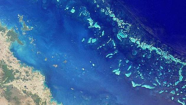 Satellitenbild eines Teiles des Great Barrier Reef (Bild: NASA/MISR)