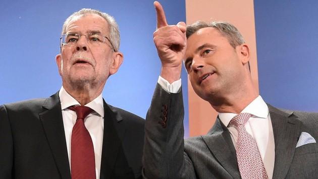 Die Präsidentschaftskandidaten Alexander Van der Bellen und Norbert Hofer (Bild: APA/Helmut Fohringer)