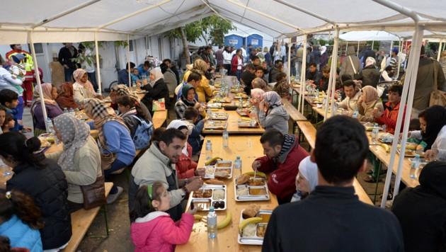 Flüchtlinge in Traiskirchen (Bild: APA/HERBERT NEUBAUER)