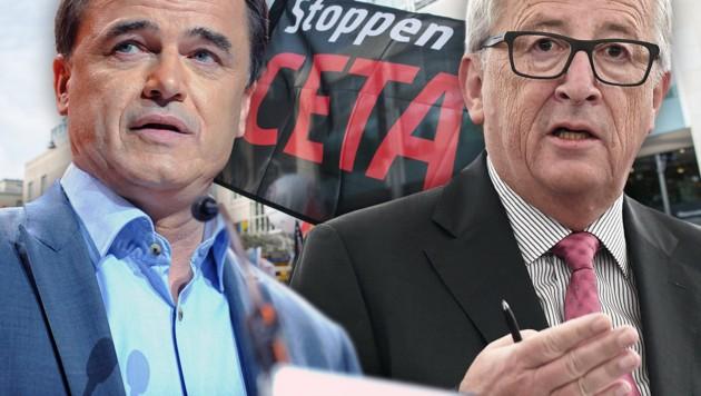 Benoit Lutgen (links) und Jean-Claude Juncker (Bild: AFP/FREDERICK FLORIN, AFP/SOPHIE KIP, dpa/Wolfram Kastl)