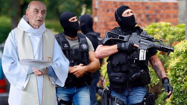 Priester Jacques Hamel, der in der Normandie brutal ermordet wurde; Spezialeinheiten der Polizei