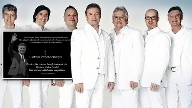 Schlagzeuger und Ex-Mitglied des Nockalm Quintetts, Dietmar Zwischenberger (ganz rechts), ist tot.
