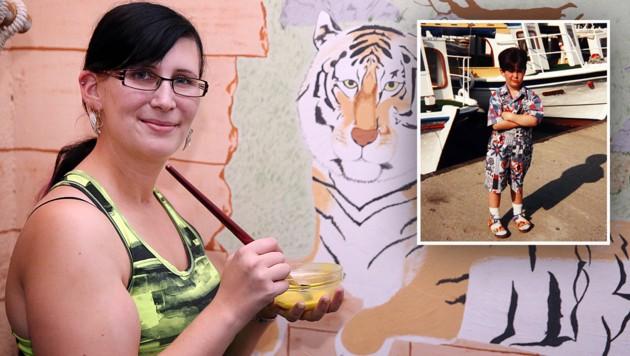 Michele malt Bilder, weil sie jene im Kopf verloren hat. Kleines Bild: Die 26-Jährige als Kind