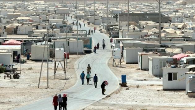 Das Flüchtlingslager Zaatari (Jordanien) hat rund 80.000 Bewohner und wird von der UNO betrieben. (Bild: AFP)