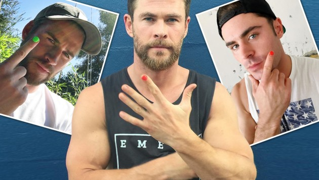 Männliche Stars lackieren jetzt einen Fingernagel. (Bild: Vienneraport)