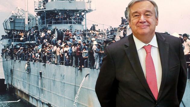 """UNO-Chef Antonio Guterres will eine Verteilung nach dem Vorbild der """"Boat People"""" aus Vietnam. (Bild: AP, AFP)"""
