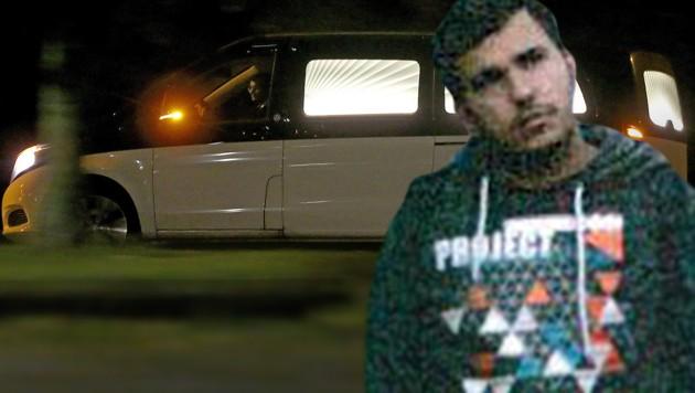 Der Wagen mit Jaber al-Bakrs Leiche beim Verlassen der Justizvollzugsanstalt Leipzig