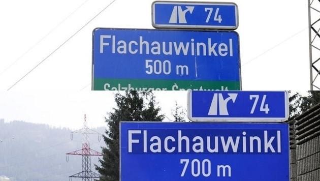 """Oben das Schild auf der A10 nordwärts mit dem """"e"""" zu viel, unten das richtige Schild südwärts"""