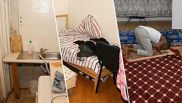 Heruntergekommene Küche, enges Schlafzimmer und Wohnzimmer als Gebetsraum