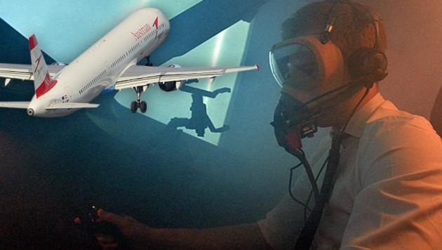 Die Piloten trugen beim Landemanöver ihre Schutzmasken. (Bild: Patrick Huber)