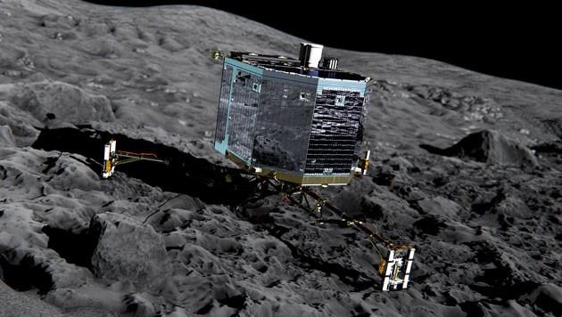 """Künstlerische Darstellung von """"Philae"""" auf der Kometenoberfläche (Bild: ESA/ATG medialab)"""