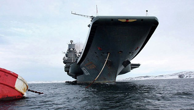 """Die """"Admiral Kusnezow"""", der zurzeit einzige Flugzeugträger der russischen Marine (Bild: Public Relations Service of the Russian Navy)"""