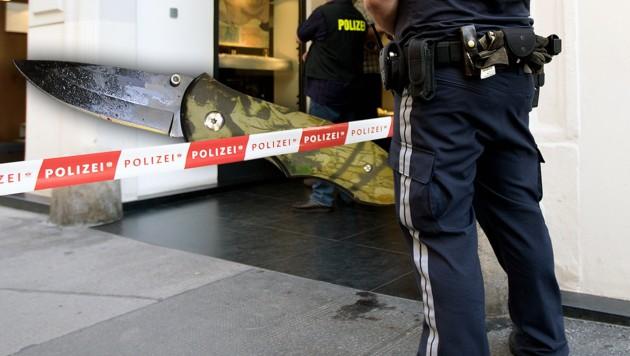 Mit diesem Messer ging der Verdächtige (25) auf den 33-Jährigen los. (Bild: APA/GEORG HOCHMUTH (Symbolbild), Polizei)