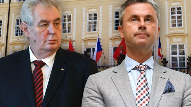 """Präsident Zeman ist ein """"Fan"""" Hofers, den er zu einem """"Freundschaftsbesuch"""" in Prag empfängt."""