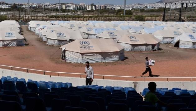 Ein Teil des Flüchtlingslagers Elleniko (Bild: APA/AFP/LOUISA GOULIAMAKI)