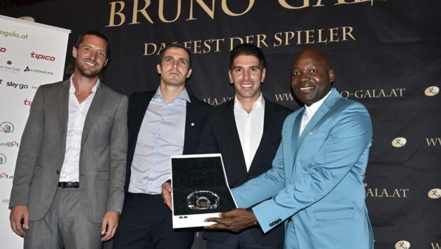 Von links: Thomas Pichlmann, Benjamin Sulimani, Jonatan Soriano und George Alaba (Bild: APA/HANS PUNZ)